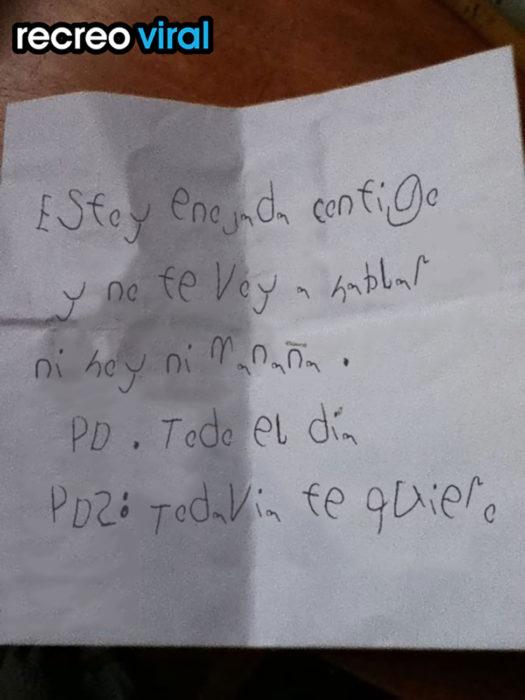 carta de niña enojada