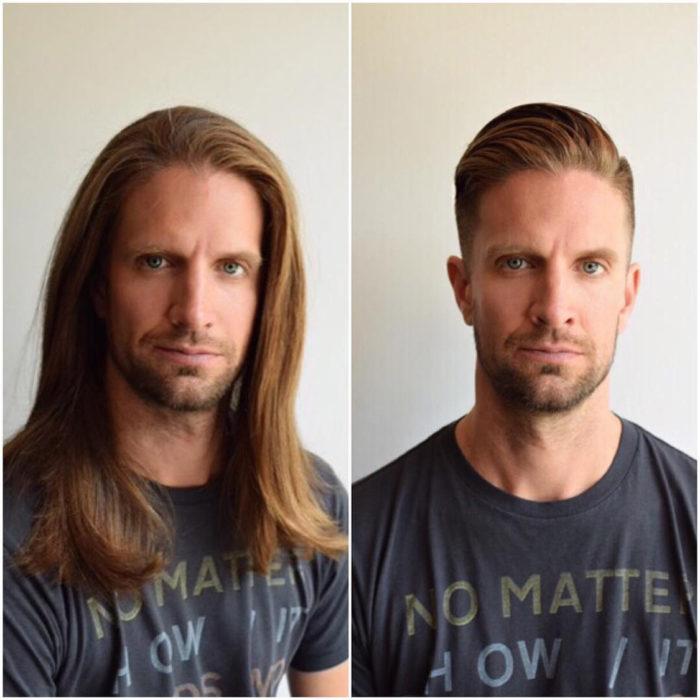 cambio de imagen hombre de pelo largo