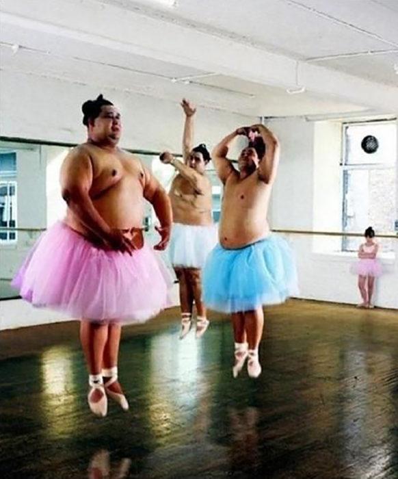 competidores de sumo con tutu