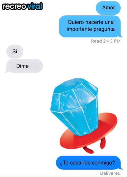mensaje de texto con imagen de anillo de dulce