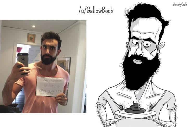 caricatura hombre con barba