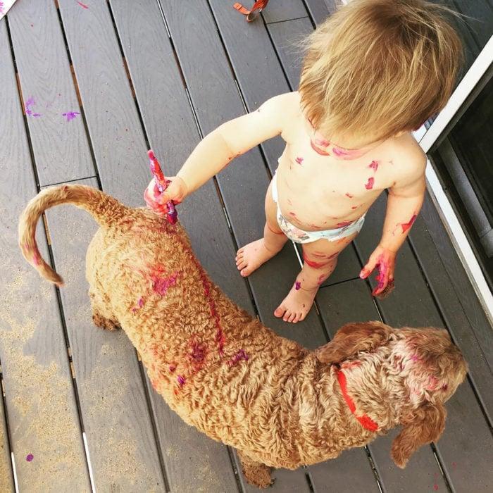 niño pintando a un perro