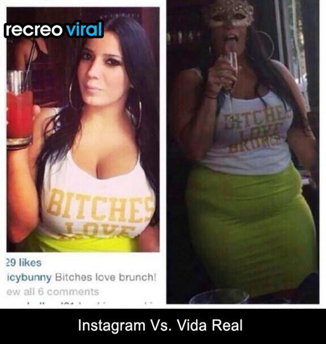 mujer instagram vs vida real