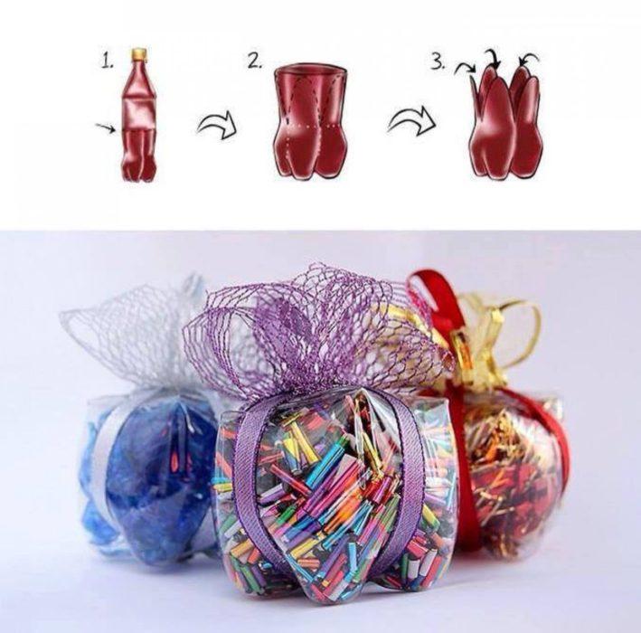 cajas de regalo hechas de botellas de plástico