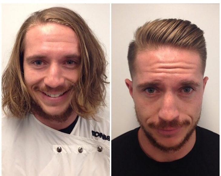 chico antes y después de cortarse el pelo