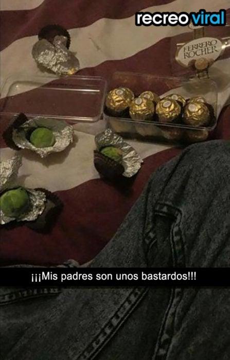 limones envueltos en empaque de chocolate