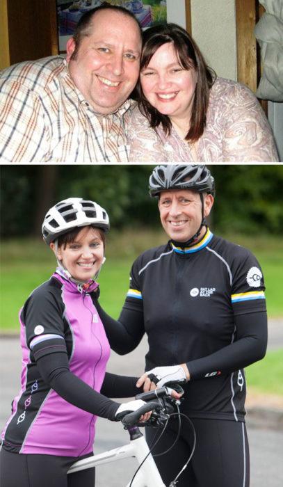 pareja que se hizo ciclista para bajar de peso