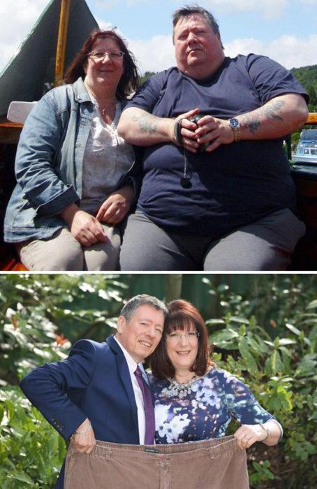 pareja que lleva la cuenta regresva en kiilos, ambos caben ahora en el pantalón deuno