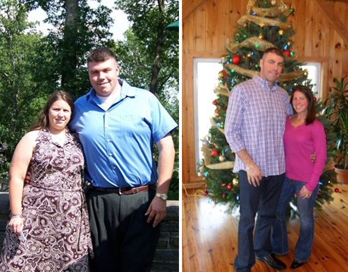 pareja que bajo a la mitad de su peso de como antes esetaba