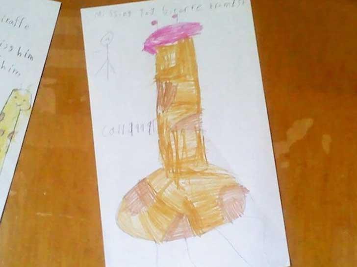 dibujo de jirafa hecho por un niño
