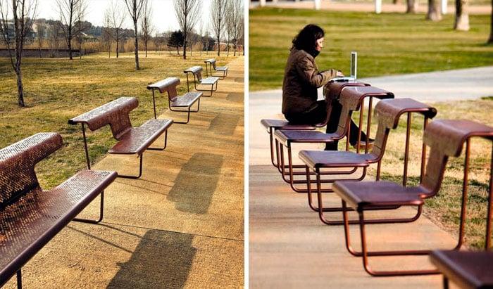 banca en la que te puedes sentar de dos formas