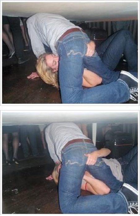 mujer pesando la entrepierna de un hombre