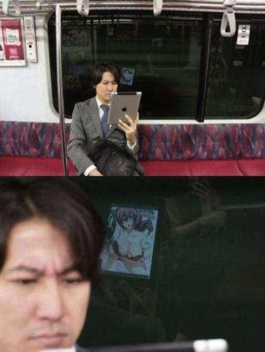asiático en el metro