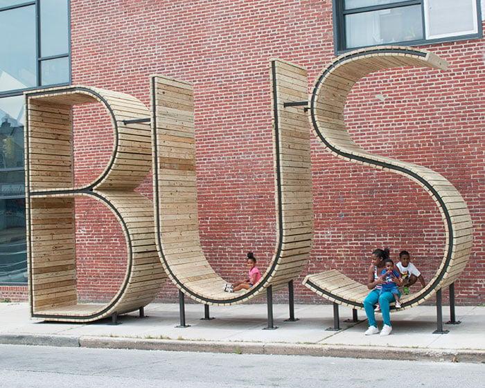 asientos en forma de la frase bus