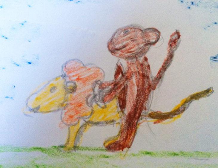 dibujo de momo y león