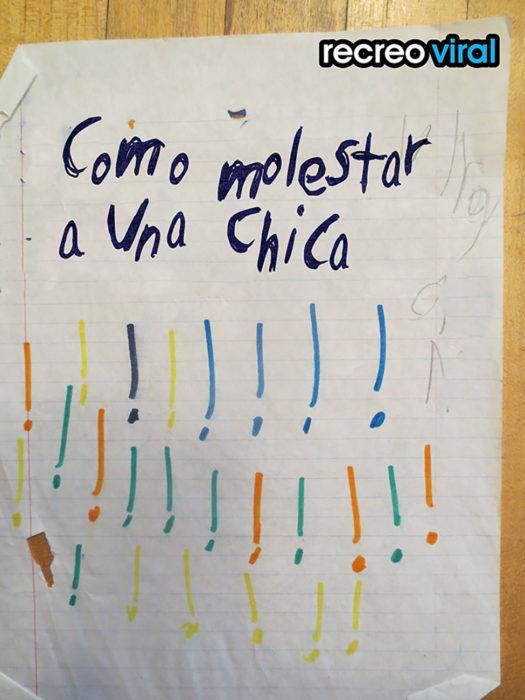 hoja de máquina escrita por un niño
