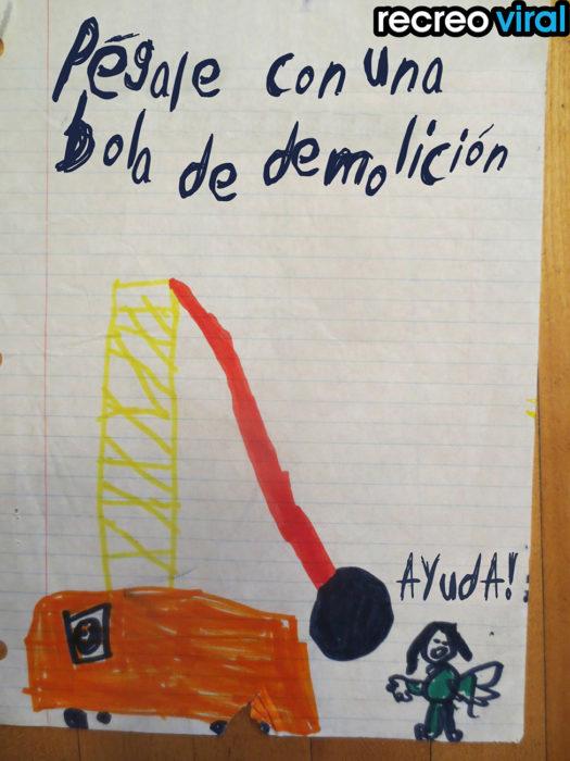 dibujo de bola de demolición hecho por un niño