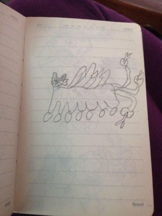 dibujo raro de un gato hecho por un niño