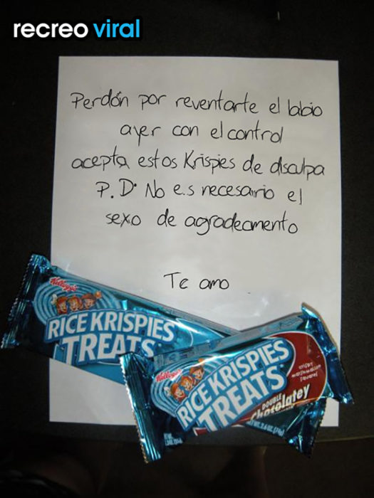 nota de disculpas y chocolates