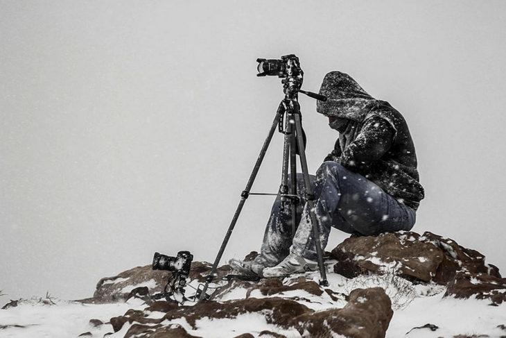 fotógrafo bajo cero