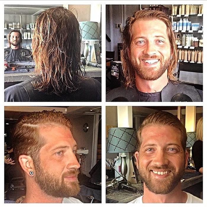 homre sonriendo después de corte de cabello