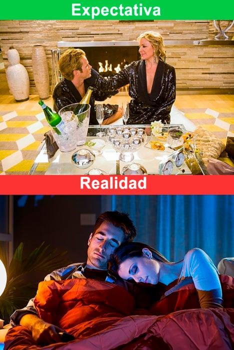 fin de semana romántico expectativa y realidad