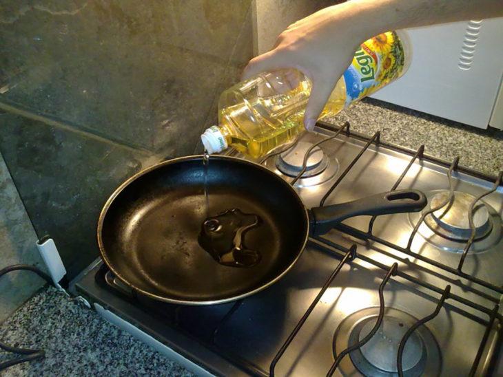 sartén con aceite
