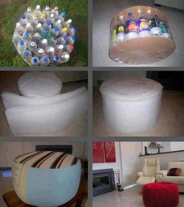 mueble de botellas de plástico