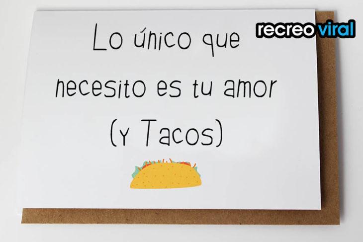 tarjeta de felicitación tacos