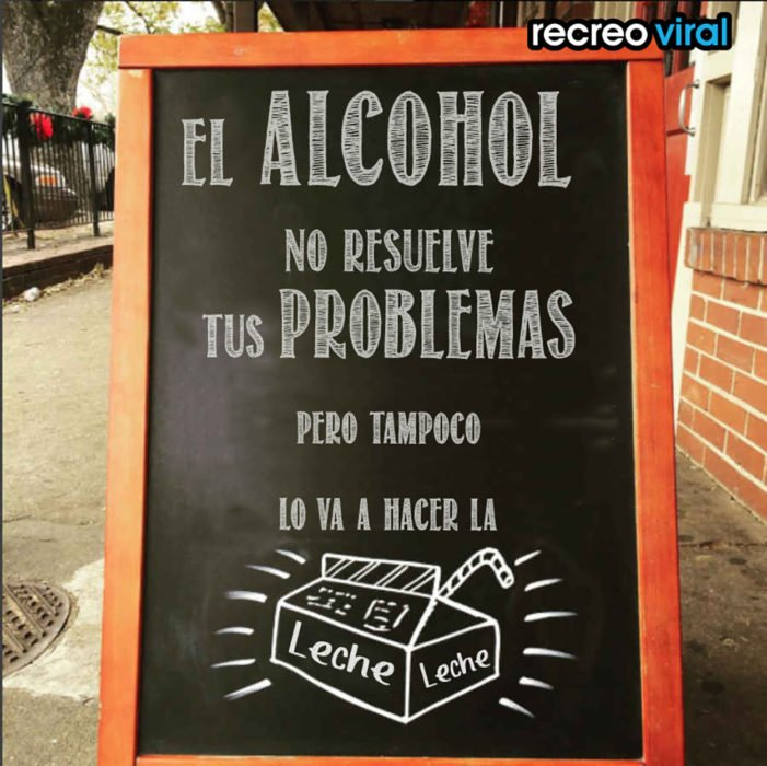 cartel con frase divertida para bar