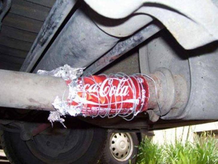 escape arreglado con una lata