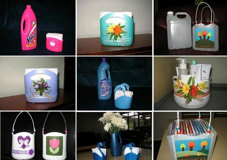 cestos hechos con botellas de plástico