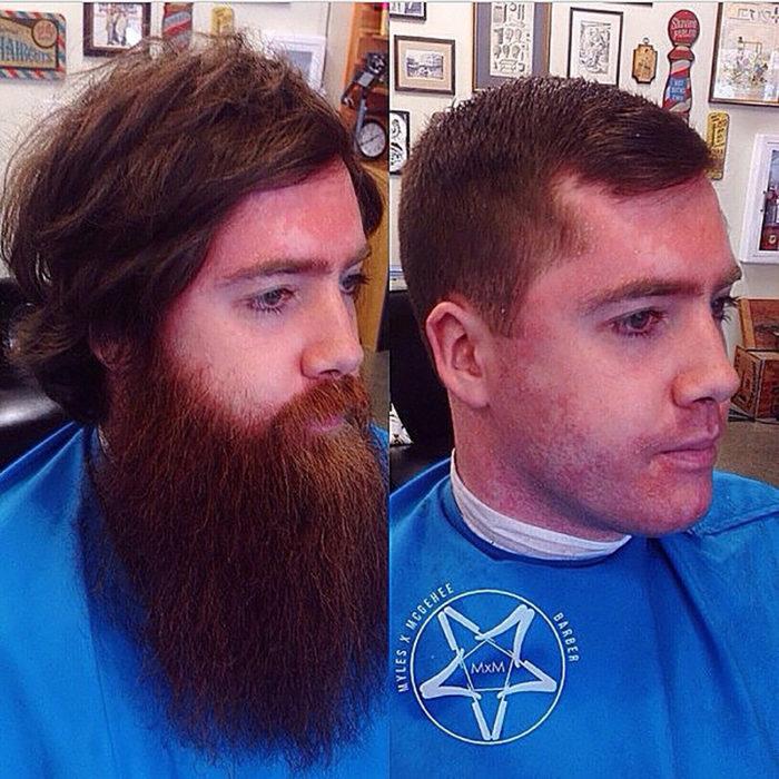 chico antes y después de que le corten la barba