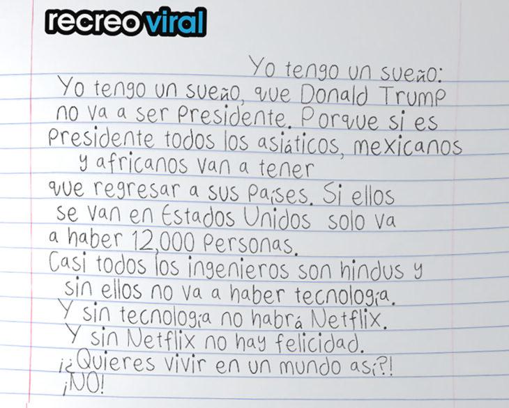 carta de niño que no quiere que donald trump sea presidente