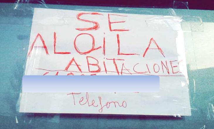 cartel se alquila faltas ortográficas