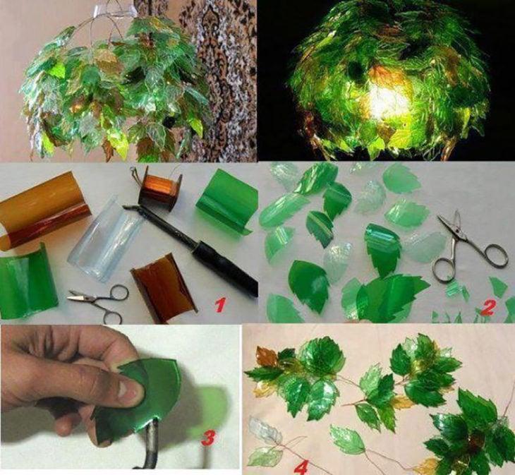 lámparas de hojas hechas de plástico