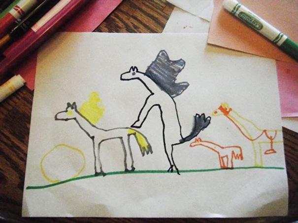 familia de caballos dibujada por niños