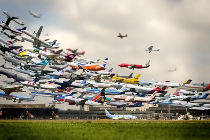 foto de aviones larga expocision