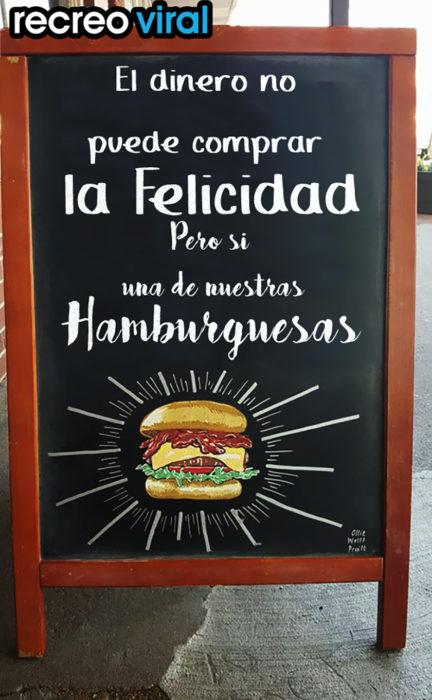 letrero gracioso para hamburguesería