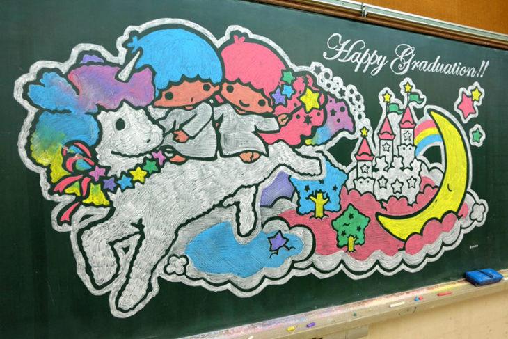 pizarrón con un unicornio