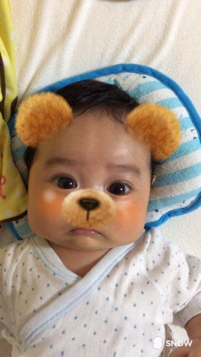 bebé con filtro de osito