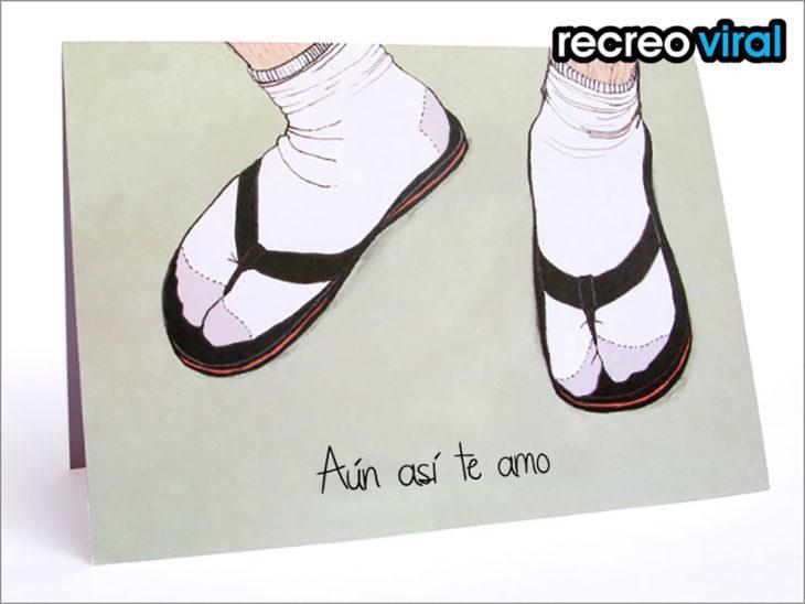 tarjeta sandalias con calcetines
