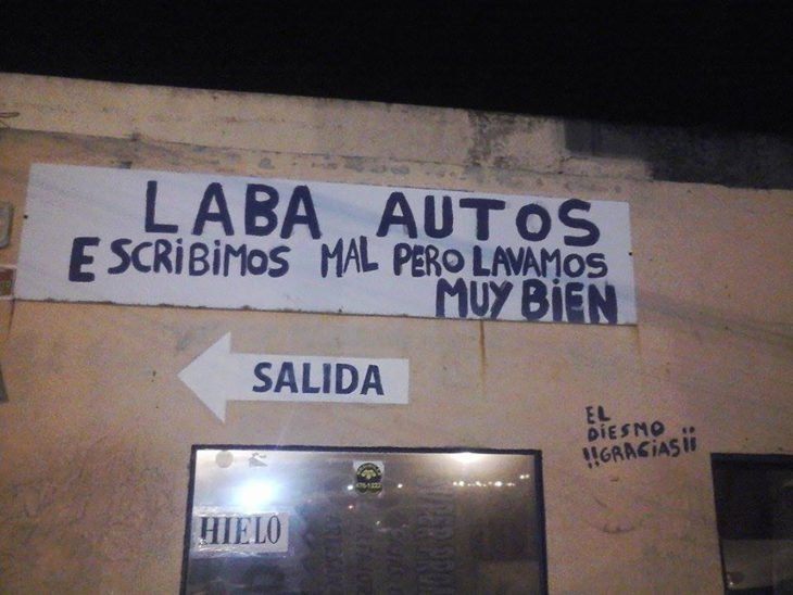 lava autos error ortografico cartel