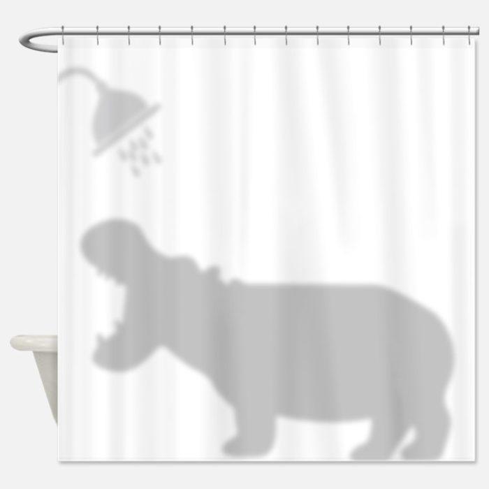cortina de baño de hipopótamo