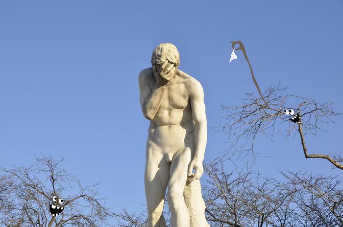 Arte en las calles de París - Hombre llorando