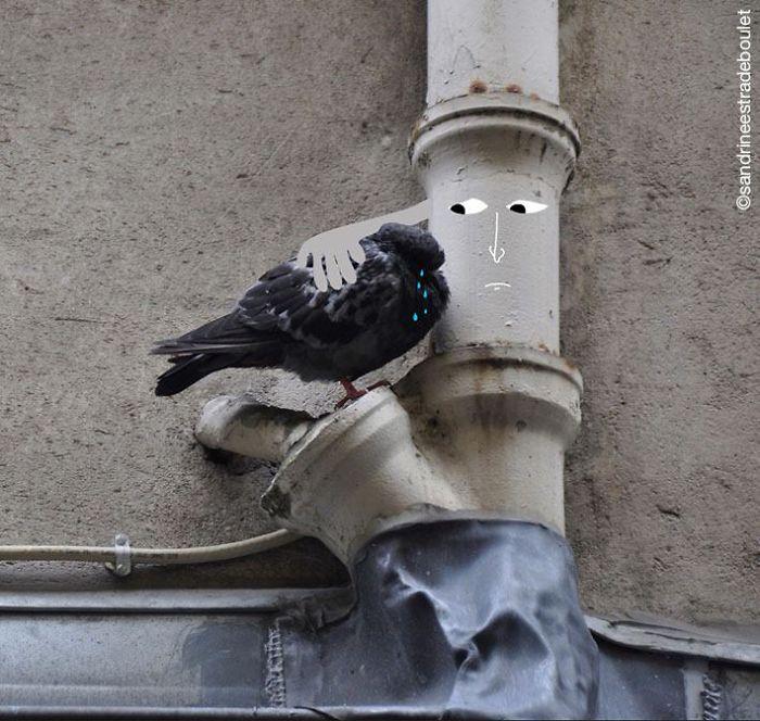 Arte en las calles de París - Consolando una paloma