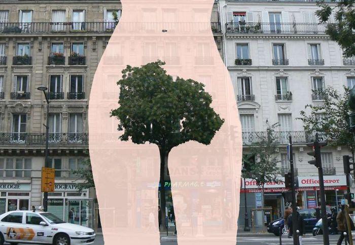 Arte en las calles de París - mujer arbusto