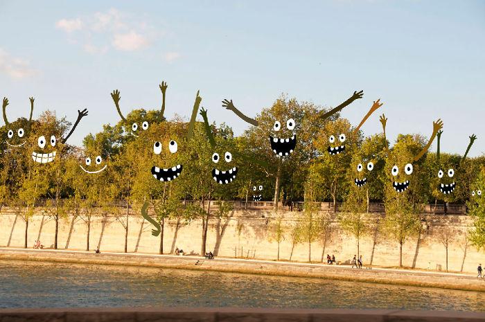 Arte en las calles de París - arboles felices