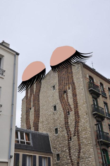 Arte en las calles de París - edificio llorando