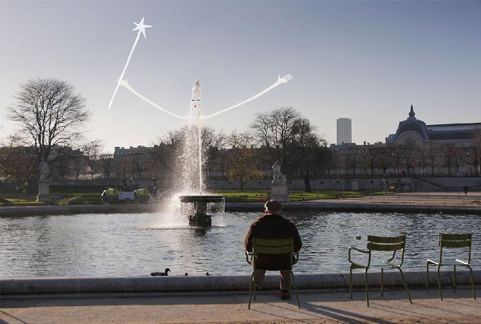 Arte en las calles de París - hada en el lago